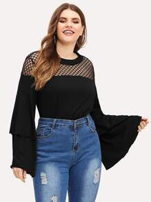 Plus Fishnet Panel Flounce Tee