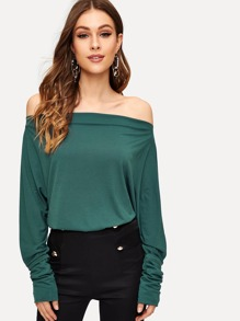 Off Shoulder Solid Tee