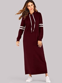 Varsity Striped Maxi Hoodie Dress