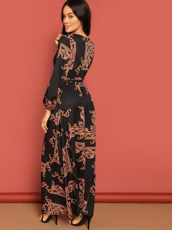 cd03866b78 Scarf Print Plunging Belted Maxi Surplice Dress | SHEIN