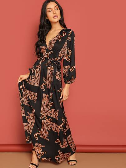 f0cee3a34fad4 Scarf Print Plunge Belted Maxi Wrap Dress