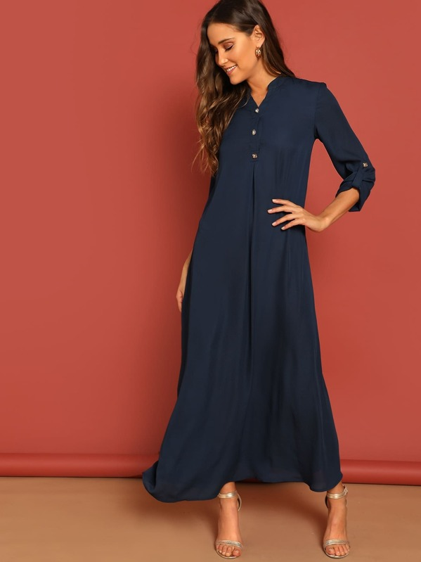 0ae79a6cd6 Rolled Tab Sleeve Button Front Maxi Dress | SHEIN UK