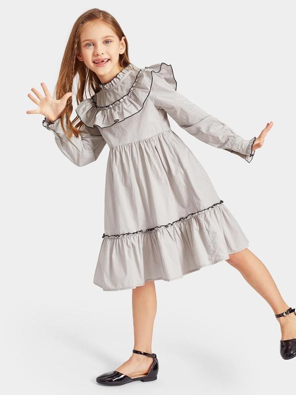 1739fb2ae027b فستان مكشكش طبقات للبنات ومقلم ومصحح متباين