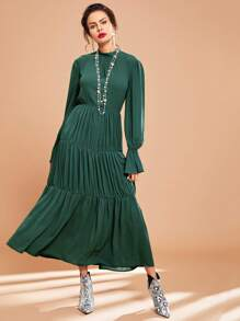 Bell Sleeve Ruffle Hem Solid Dress