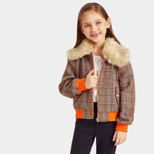 Girls Contrast Faux Fur Collar Houndstooth Jacket
