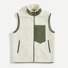 Men Mixed Media Zip Up Teddy Vest