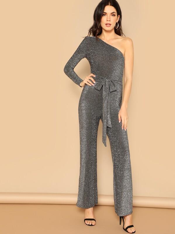 d27dc50986388 One Shoulder Wide Leg Belted Glitter Jumpsuit