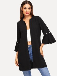 Open Front Pearls Beaded Flounce Sleeve Coat