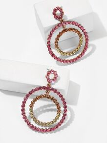 Rhinestone Double Hoop Drop Earrings 1pair