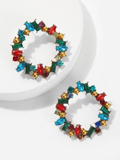 b5d0451797cc Pendientes de aro con piedra preciosa de color block 1 par