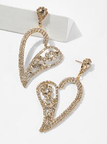 Open Rhinestone Heart Drop Earrings 1pair