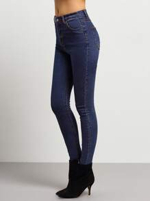 Navy Middle Waist Skinny Jeans