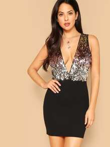 Double Deep Plunge Sequin Top Combo Dress