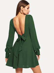Bow Tie Open Back Flared Dress