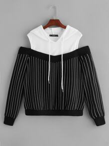Two Tone Cold Shoulder Pinstripe Hoodie