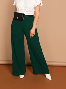 Plus High Waist Solid Wide Pants