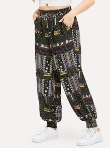 Plus Elastic Waist Mixed Print Pants
