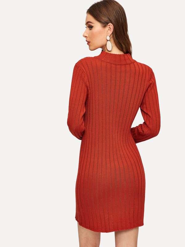 8c49ada8a5bd7 Mock-neck Button Detail Rib Knit Sweater Dress | SHEIN