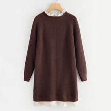 Plus Guipure Lace Trim Raglan Sleeve Sweater Dress