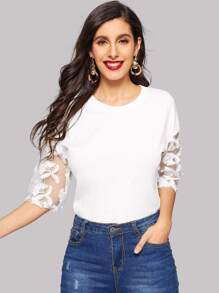 Contrast Mesh Floral Appliques Sleeve Tee