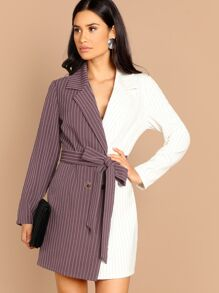 Notch Collar Pinstripe Two-tone Dress