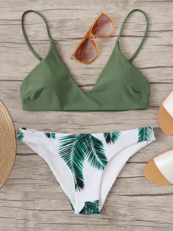 72b37a05cd Random Leaf Print Mix and Match Bikini Set   SHEIN