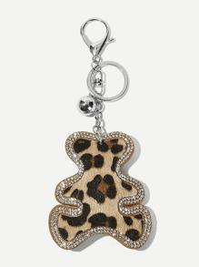 Rhinestone Detail Cartoon Bear Shaped Keychain
