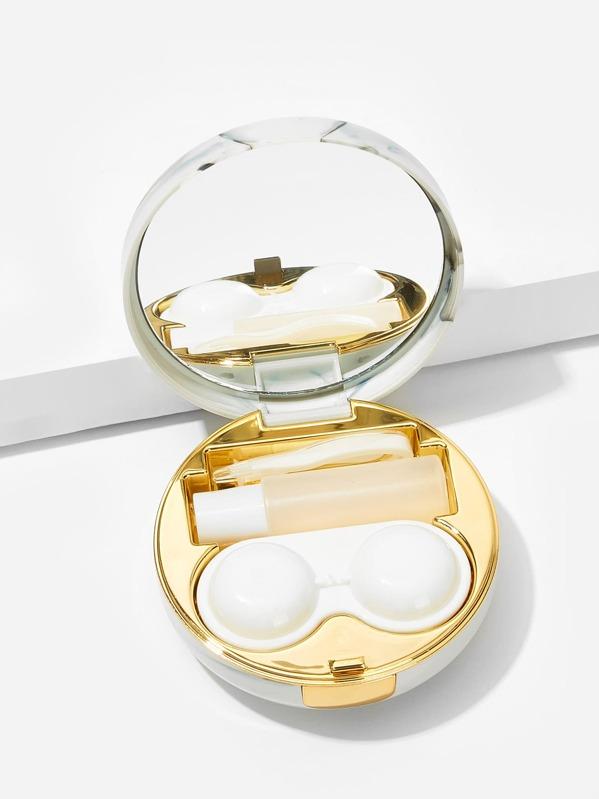 1c14d951e4 Mirror Detail Round Contact Lens Case Set 5pack | SHEIN