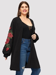 Plus Floral Applique Coat