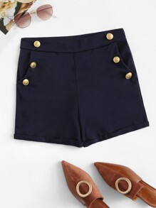 Button Side Solid Shorts