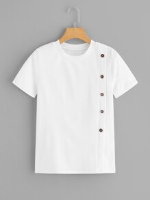 Button Front Solid Tee