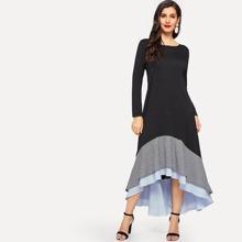 Gingham & Striped Tiered Layer Asymmetric Hem Dress