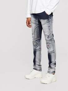 Men Opera Embroidery Patch Sleek Moto Jeans
