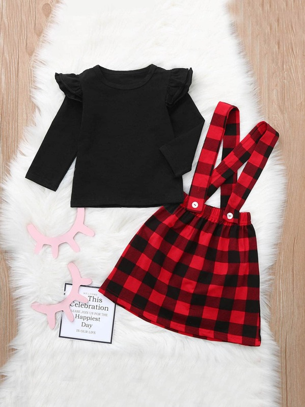 b2381e6befd Toddler Girls Frill Trim Tee With Check Plaid Pinafore | SHEIN UK