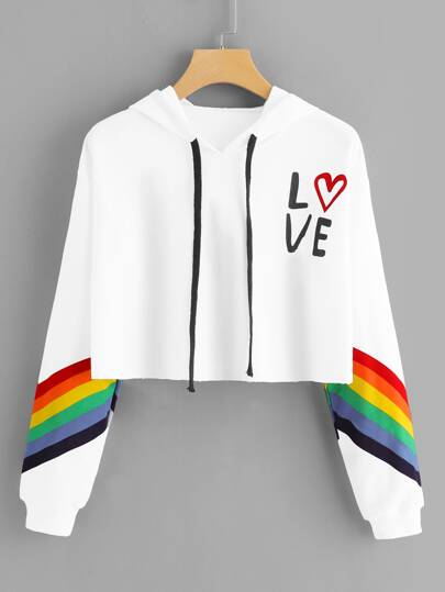 Rainbow Striped & Letter Graphic Contrast Crop Hoodie