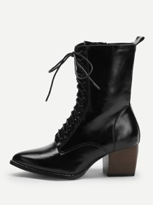 Lace-up Point Toe  Boots