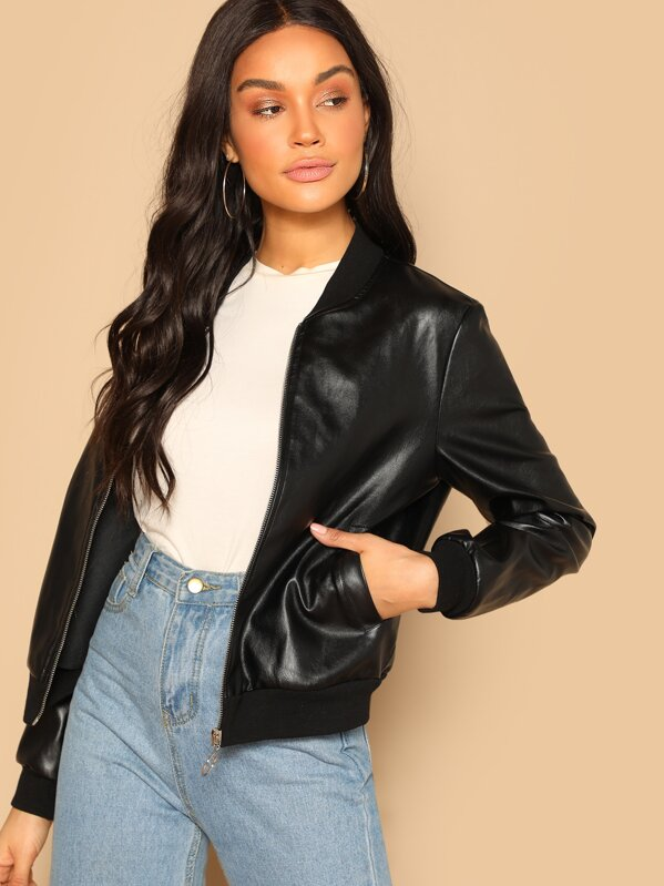 adf3958eb6 Zip Up Faux Leather Bomber Jacket