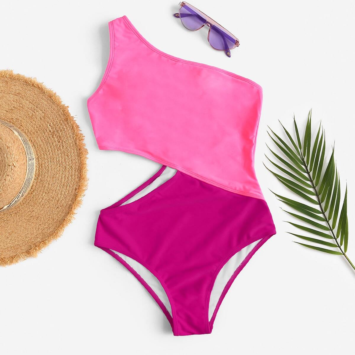 SHEIN coupon: Two Tone One Shoulder One Piece Swimsuit