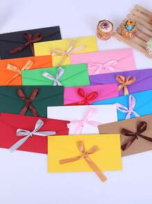 Random Color Bow Detail Envelope 4pcs
