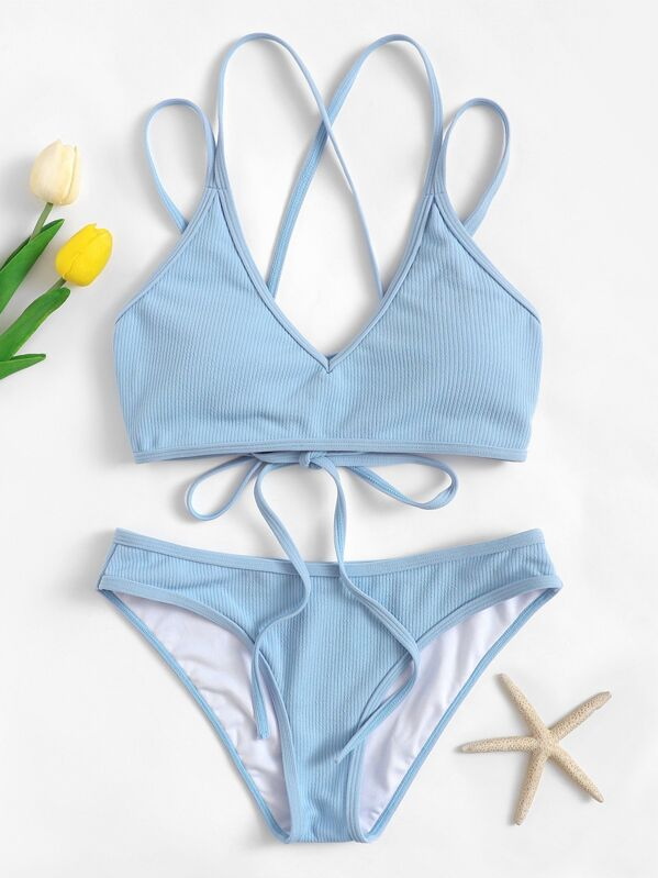c89b70adb54e2 Lace-up Back Top With Ribbed Bikini Set | SHEIN