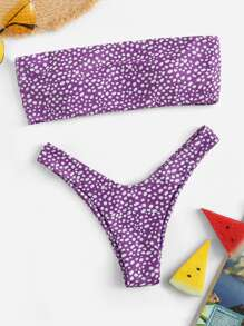 Dot Print Bandeau With High Cut Bikini Set