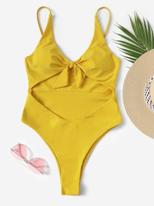 Knot Front Cut-out One Piece Swimwear