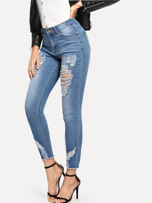 8f40fcaa830a Raw Hem Distressed Skinny Jeans | SHEIN