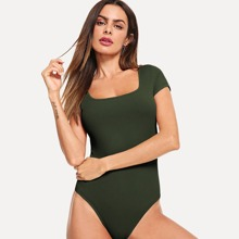 Square Neck Rib Knit Form Fitted Bodysuit
