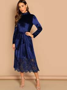Mock-neck Tie Waist Eyelash Lace Hem Velvet Dress