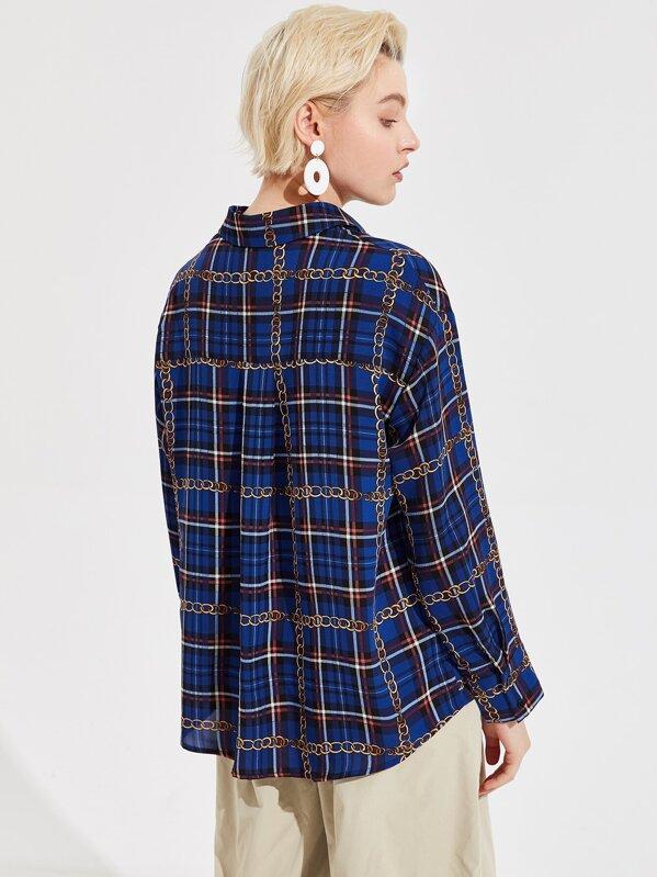79c7dd967c Chain and Plaid Print Shirt | SHEIN UK