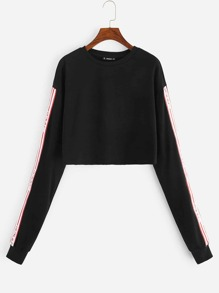 Letter Tape Sleeve Crop Sweatshirt