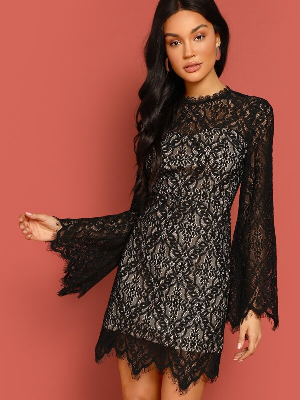 499340bcd6e763 Bell Sleeve Floral Lace Overlay Dress | SHEIN