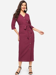 Asymmetric Buttoned Placket Pencil Dress With Belt