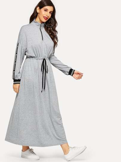 Letter Tape Zip Half Placket Drawstring Waist Dress